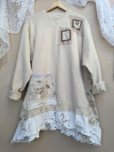 Image result for how to upcycle a sweatshirt into a romantic tunic Shabby Chic Style, Shabby Chic Decorating