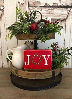 Tiered Tray Sign Mini Joy Sign Small Sign for tiered tray Joy Wreath Sign Farmhouse Decor Farmhouse Christmas Bathroom Decor, Farmhouse Christmas Decor, Country Christmas, All Things Christmas, Christmas Home, Christmas Crafts, Farmhouse Decor, Christmas Vignette, Christmas Table Decorations