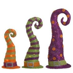 RAZ Whimsical Striped Witch Hat Halloween Decoration Set of 3 Set if 3 assorted hats Orange, Lime Green, Purple Made of Sisal/Metal Measures 10 UL Certified Single End Connection Whimsical Halloween, Halloween Witch Hat, Halloween Mantel, Holidays Halloween, Halloween Crafts, Happy Halloween, Halloween Decorations, Witch Hats, Google Halloween