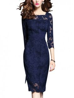 metisu Navy Hollow Out Lace Bodycon Dress-M Short Beach Dresses, Tight Dresses, Casual Dresses, Women's Dresses, Casual Frocks, Dresses Online, Formal Dresses, Elegant Midi Dresses, Lace Midi Dress