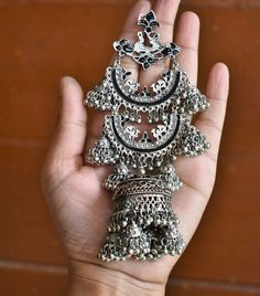 Super large oxidised jhumkis available at She said yes Indian Jewelry Earrings, Silver Jewellery Indian, Jewelry Design Earrings, Fashion Earrings, Fashion Jewelry, Silver Earrings, Silver Jewelry, Silver Ring, Jewelery