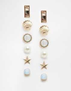 New+Look+6+Pack+Iridescent+Earring+Studs