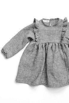 Sweet Handmade Linen Gingham Dress With Frill Detail | TotsModa on Etsy
