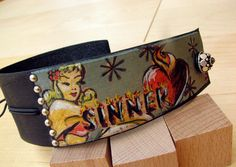 Sinner Leather Wrist Wrap  Blue by leatherbyelaine on Etsy, $35.00