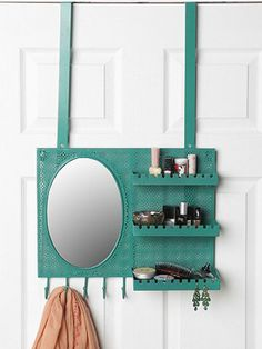 There are so many uses for this hanging vanity that you won't know what you ever did without it! Store makeup, hair ties, deodorant—all your rushing-out-the-door essentials—in the three shelves! Five hooks are perf for hanging scarves and light jackets, and the dozen little grooves fit jewelry, keys, and anything else you don't want to forget on your way to class. Over-the-Door Vanity Station, $59, urbanoutfitters.com MORE: 22 Life-Changing Ways to Store Your Beauty Products