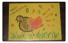 YOU WILL NEED  Large construction paper  Markers or crayons  Brown, orange, and yellow finger paints  Paper plates  Clear contact paper    HERE'S HOW  Draw a turkey on a white piece of construction paper.  With the help of an adult, pour the finger paint in a paper plate.  Place your hand into the paint and use your handprint as the turkey's tail feathers.    When the paint is dry, cover both sides of the paper with the contact paper to create an easy-to-clean placemat.