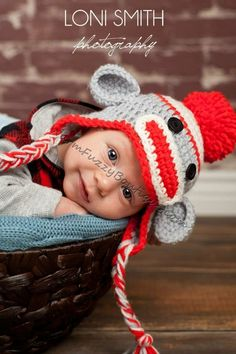 Other for Jessica S from my #etsy shop: Sock Monkey Earflaps Hat in Light Grey, Red, White - Child Photo Prop Girl Boy Costume Halloween #Christmas Gift Winter Outfit #accessories #hat #child #baby #toddler #costume #halloween #party #beanie http://etsy.me/2jAMczm