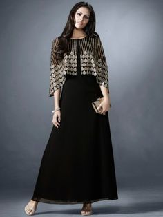 15 Modern Black Kurtis For Women In Trend - Designer Dresses Couture Party Wear Indian Dresses, Designer Party Wear Dresses, Indian Gowns Dresses, Kurti Designs Party Wear, Indian Designer Outfits, Stylish Dresses, Fashion Dresses, Shrug For Dresses, Long Dresses