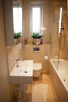 Small bathroom ideas and small bathroom designs for both city and country homes. From small bathroom designs using tile and wallpaper, to help decide on a small bathroom layout. Small Space Design, Bathroom Design Small, Bathroom Layout, Bathroom Interior, Modern Bathroom, Bathroom Storage, Bathroom Ideas, Small Spaces, Bathroom Designs