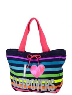 STRIPED SLEEPOVER TOTE | GIRLS FASHION BAGS & TOTES ACCESSORIES | SHOP JUSTICE Fashion Bags, Girl Fashion, Justice Store, A Girl Like Me, Claire's Accessories, Justice Clothing, Sleeping Bags, Backpack Purse, Kids Bags