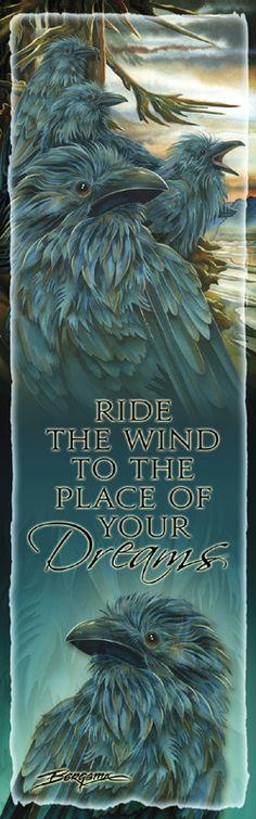 Bergsma Gallery Press::Products::Bookmarks::Birds::Ravens::Raven / Ravens... Forevermore - Bookmark