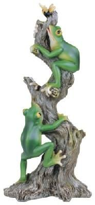 Large Polyresin Frogs Climbing On Tree For Bee