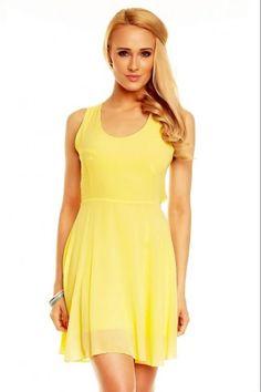 Εξώπλατο σιφόν μίνι φόρεμα - Κίτρινο