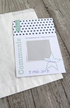 Bedankkaartje communie jongen | blauw aqua | ster | polkadots | bedankzakje | star | thank you card | party | feestje