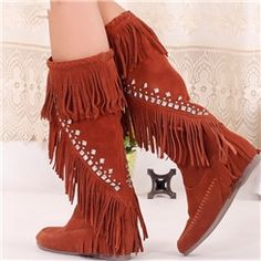 Fashion Knee-high Boots with Rhinestone&tassels