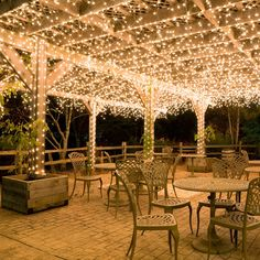 Hang white icicle lights to create magical outdoor lighting. This idea works well for decks, patio lights and covered porches. Imagine these icicle lights at an outdoor wedding reception? Beautiful.