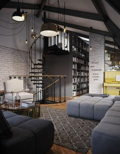 Spacious loft with exposed brick located in Moscow Russia [1406 1804]