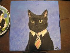 Business Cat Simone Manley @Simbotic Business Cat, Paintings, Cats, Fun, Gatos, Paint, Painting Art, Draw, Painting