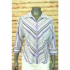 Apt. 9 Women's button front shirt striped 3/4 sleeve size M stretch casual work #Apt9 #ButtonDownShirt #Casual