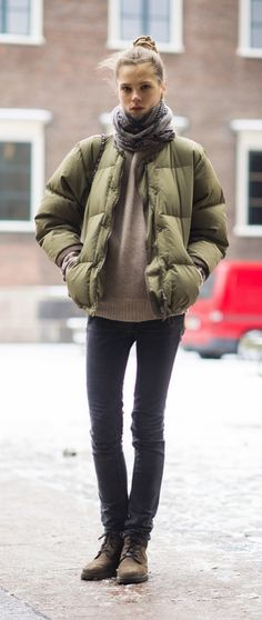 Sure your puffer jacket is a Winter necessity, but it also looks pretty cute atop skinny jeans and a cozy sweater.