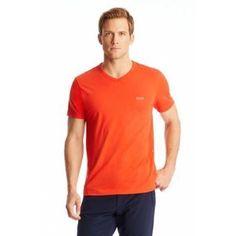 Teevn | Cotton V-Neck T-Shirt - Bright Orange
