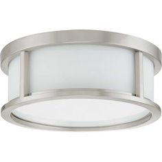 Buy the Nuvo Lighting Brushed Nickel Direct. Shop for the Nuvo Lighting Brushed Nickel Odeon 3 Light Wide Flush Mount Drum Ceiling Fixture and save. Semi Flush Lighting, Lighting Sale, Chandelier Lighting, Outdoor Lighting, Chandeliers, Ceiling Lighting, Modern Lighting, Lighting Ideas, Lighting Direct