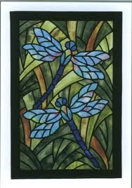 dragon fly stained glass panel