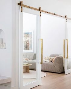 Detailed double doors—House By Three Birds Renovations x Sophie Bell, featuring Dulux White on White. Three Birds Renovations, Glass Barn Doors, Internal Doors, Cabana, Home Fashion, Living Spaces, Living Room, Home And Family, Family Homes
