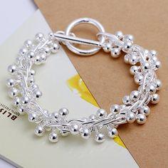 fine summer style silver plated bracelet jewelry bijouterie grape chain bracelets for women men Solid Silver Bracelets, Crystal Bracelets, Bangle Bracelets, Silver Ring, Link Bracelets, Bracelet Charms, Silver Earrings, Cartier Bracelet, Beach Bracelets