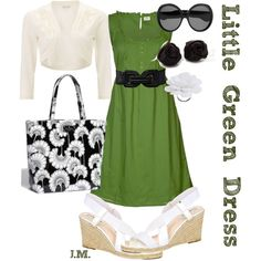 Little Green Dress, created by jenniemitchell on Polyvore:  Lose the shoes and opt for a solid black stilletto.