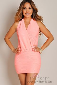 Sexy Coral Pink Pleated Halter Wrap Dress