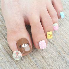Korea Nail, Feet Nails, Toenails, Trendy Nail Art, Toe Nail Designs, Toe Nail Art, Mani Pedi, Nail Arts, Finger