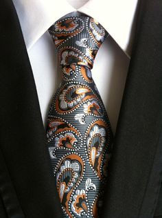 Orange And Silver Stitch Silk Paisley TwentydollartieTwenty Dollar Tie Suit Fashion