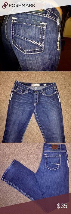 Buckle BKE Straight Leg Jeans BKE Denim Payton Women's Dark Wash Thick White Stitch Designer Straight Leg Jeans in size 29 Long with an inseam of 33. Gorgeous jeans!! 😍😍 Buckle Jeans Straight Leg
