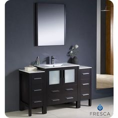 Fresca - Torino 54 Inch Espresso Modern Bathroom Vanity With 2 Side Cabinets And Undermount Sink - FVN62-123012ES-UNS - Home Depot Canada