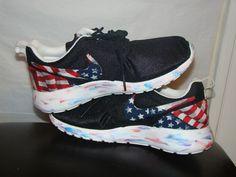 Custom Roshe Runs American Flag Print Marble Sole - Eshays, LLC   Eshays, LLC