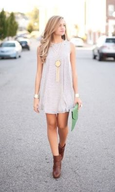 ~ Grey dress with gold necklace and bracelets, brown boots and green clutch for a pop of colour ~