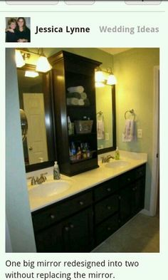 One mirror divided to two. Good Bath Idea