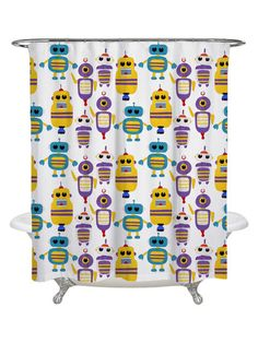 Olivia's Easel Robots Everywhere! Shower Curtain by Oliver Gal at Gilt