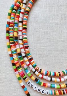 A couple of weeks ago, I took Quincy to the craft store to pass the time indoors on a scorchingly hot day in LA. Beaded Jewelry Designs, Handmade Beaded Jewelry, Seed Bead Jewelry, Diy Jewelry, Jewelry Ideas, Hama Beads Jewelry, Jewelry Findings, Diy Perler Beads, Beaded Necklace