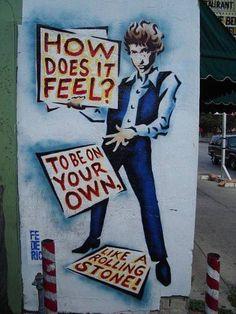 Bob Dylan street art in Austin, Texas. Mural on the side of Hole in the Wall. Like A Rolling Stone, Rolling Stones, Banksy, Bob Dylan Art, Billy The Kid, Folk, New Wave, Marvel, Street Art Graffiti