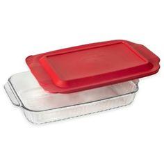Pyrex® Glass 3 qt. Sculpted Baker with Red Lid - BedBathandBeyond.com