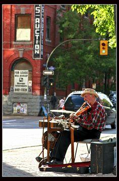 Busker, in Winnipeg. Canada, Heavens, Cities, Dreams, History, Music, Travel, Life, Art
