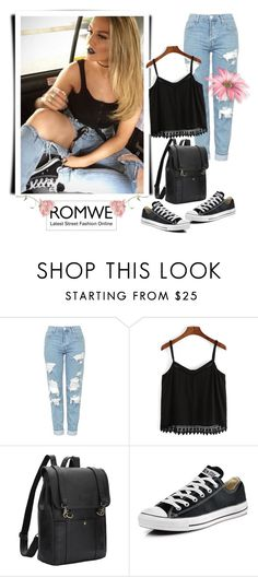 """""""Romwe 9/IV"""" by nermina-okanovic ❤ liked on Polyvore featuring Topshop, Converse and romwe"""