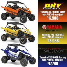 #GetOutAndRide now includes the #GameChanger 2016 #Yamaha #YXZ1000R at #DHYMotorsports A great deal in 3 flavors!