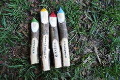 Turn Twigs Into Gnome Garden Markers. Probably need to sharpen BOTH ends :-) Gnome Garden, Lawn And Garden, Herb Garden, Garden Art, Garden Plant Markers, Little Gardens, Garden Types, Garden Inspiration, Garden Ideas