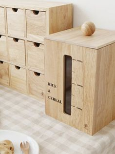Wooden Grain Container With Measure Bowl Rice Food Dispenser Storage Wood  Small