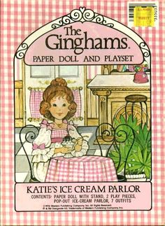 The Ginghams Paper Dolls and Playset: Katie's Ice Cream Parlor, 1976 Whitman of My Childhood Memories, Childhood Toys, Vintage Paper Dolls, Vintage Toys, Vintage Prints, Paper Toys, Paper Crafts, Paper Doll House, Paper Houses