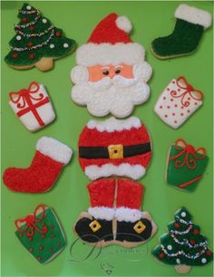 Santa Claus is Comin' to Town! I am so excited about these Segmented Santas! Before I say one more word about them, I have to share. Christmas Cookies Kids, Cookies For Kids, How To Make Cookies, Christmas Holidays, Xmas, Cake Cookies, Sugar Cookies, Cookie Frosting, Beautiful Christmas