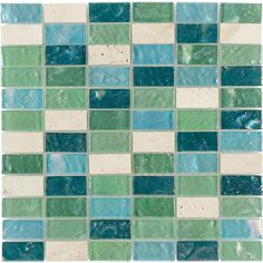 Elida Ceramica Minty Brick Straight Stack Mosaic Stone And Glass Travertine Wall Tile (Common: X Actual: 11 Ceramic Floor Tiles, Mosaic Tiles, Wall Tiles, Stone Mosaic, Mosaic Glass, Lowes Tile, Stone Backsplash, Outdoor Walls, Indoor Outdoor